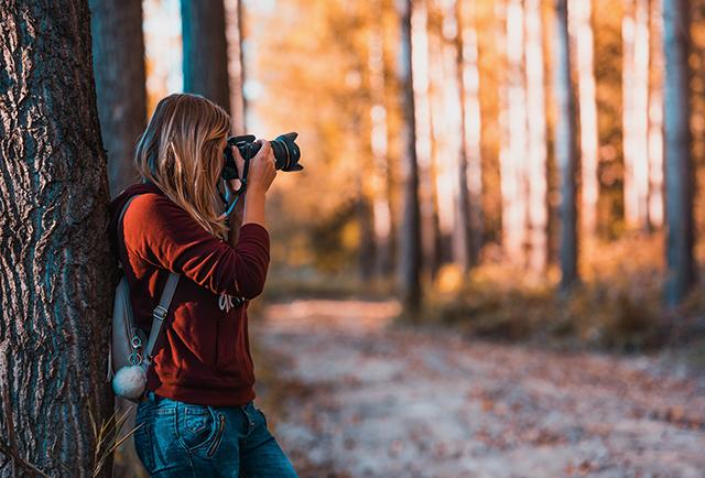 Girl Woods Camera